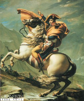 DHM275B.  Bonaparte Crossing the Great Saint Bernards Pass, By Jacques Louis David. <p>Painted more as an important propaganda piece, than an historical painting, This painting shows Napoleon on a fine horse, in fact he crossed the Alps on a mule.<b><p>Open edition print. <p> Image size 9 inches x 12 inches (23cm x 31cm)