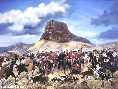 DHM280. Last Stand of the 24th Regiment at the Battle of Isandhlwana by Simon Smith <p>Battle of Isandhlwana.   Zulu victory over the British forces on 22nd January 1879 about 100km north of Durban. Lord Chelmsford led a column of forces to seek out the Zulu army camped at Isandhlwana, while patrols searched the district. After receiving a report, Chelmsford set forth at half strength, leaving six companies of the 24th Regiment, two guns, some Colonial Volunteers and a native contingent (in all about 1,800 troops) at the camp. Later that morning an advanced post warned of an approaching Zulu army. Shortly after this, thousands of Zulus were found hidden in a ravine by a mounted patrol but as the patrol set off to warn the camp, the Zulus followed. At the orders of the Camp Commander, troops spread out around the perimeter of the camp, but the Zulu army broke through their defences. The native contingent who fled during the attack were hunted down and killed. The remaining troops of the 24th Regiment, 534 soldiers and 21 officers, were killed where they fought. The Zulus left no one alive, taking no prisoners and leaving no wounded or missing. About 300 Africans and 50 Europeans escaped the attack. Consequently, the invasion of Zulu country was delayed while reinforcements arrived from Britain.<b><p> Limited edition of 1000 prints. <p> Image size 23 inches x 16 inches (58cm x 41cm)