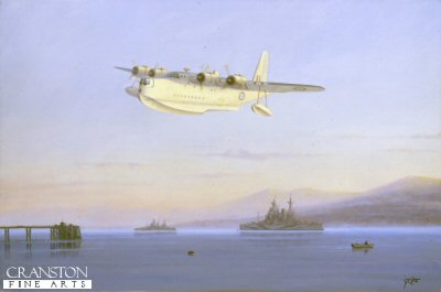 DHM287. Sunderland Over the Gareloch by Geoff Lea. <p>After take off a Sunderland of Coastal Command flies low over its base at Rosneath on the Gareloch, as Royal Navy battleships lay at anchor around the naval base of Faslane, near Helensburgh, Scotland during 1945.<b><p> Signed limited edition of 1000 prints. <p> Image size 23 inches x 14 inches (58cm x 36cm)