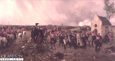 DHM293.  Wellingtons March From Quatre Bras to Waterloo by Ernest Crofts. <p>Depicting Wellingtons withdrawal on 17th June 1815, the day before Waterloo, when the Prussian retreat to Wavre had left the British position dangerously exposed. There are a lot of similarities between this painting and Meissoniers Friedland 1807, but from a British perspective. <p><b>SOLD OUT.</b><b><p> Open edition print.  <p>Image size 27 inches x 14 inches (69cm x 36cm)