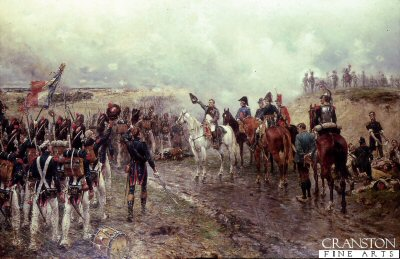 P294.  Napoleons Last Grand Attack by Ernest Crofts. <p>The fourth release of Ernest Crofts Waterloo series.  Napoleon is seen with his generals as his faithfull Guard regiments (held in reserve) pass him on their way to the last French attack on the British lines during the last stages of the Battle of Waterloo. Painted in 1895 and was last sold at Sothebys London.<b><p>Postcard<p> Postcard size 6 inches x 4 inches (15cm x 10cm)