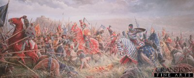 DHM400S. The Battle of Bannockburn by Mark Churms. <p>With the full might of Englands Army now gathered to do battle before the besieged Stirling Castle, the young Edward II Plantagenate is confident of victory over the enemy. To the west of the Bannockburn, Robert Bruce, King of Scots kneels to pray with his men and commends his soul to God. The Scottish battle lines are prepared. The Cavalry is in reserve to the rear behind the spearmen and archers (known as Flower of the forest) in tightly packed Schiltrons patiently awaiting the coming onslaught. Unknown to the English, the open marshy ground of no mans land conceals hidden pits and trenches, major obstacles for any mounted charge.  Despite Cliffords and de Beaumonts premature and unsuccessful attempt to relieve the castle the day before, years of victory have taught the brave English knights to regard their Scottish foes with contempt. So, without waiting for the bowmen to effectively weaken the enemy lines the order is hurriedly given to attack! With one rush hundreds of mounted knights led by the impetuous Earl of Gloucester thunder headlong through the boggy ground straight for the impenetrable forest of spears and into defeat and death.  With dash and courage the knights try to force a way through the mass of spears but the Scots stand firm. The momentum of the charge is lost and there is no room to manoeuvre. Everywhere horses and men crash to the ground, casualties amongst the English are horrific. Robert Bruce seizes the moment and orders the exultant army to advance. The Englishmen are slowly pushed back into the waters of the Bannockburn. All discipline is lost as the soldiers and horses madly scramble for the far bank of the burn. Many drown or perish in the crush to escape the deadly melee. Edward II, with his army destroyed, flees with his bodyguard for the safety of Stirling Castle but is refused refuge and has to fight his way south to England. For Robert Bruce and Scotland victory is complete.