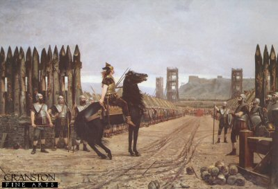 DHM310.  Vercingetorix Surrendering to Caesar by Henri-Paul Motte. <p>After the fall of the stronghold of Alesia in 52BC, Vercingetorix was the last Gallic Chieftain to submit to Caesar.  Vercingetorix is shown arrivng on horseback at the gate of the Roamn fort, with Caesar shown a distance away in the fort. Henri Motte studied under Jean-Leon Gerome, and most of his works were shown at the Salon des Artistes Francais in Paris. His major works were of historical pieces such as this one and Hannibal Crossing the Rhone, both of these receiving a bronze medal at the 1900 Universal Exhibition in Paris. He was awarded Chevalier de la Legion dHonneur in 1892.<b><p>Open edition print. <p> Image size 30 inches x 20 inches (76cm x 51cm)