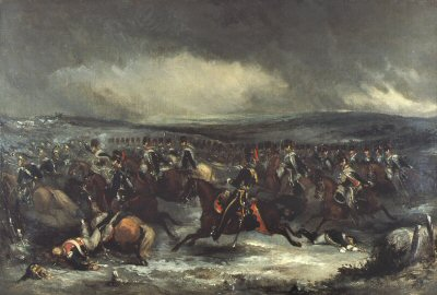 DHM311B.  Charge of the 7th Hussars at Waterloo by H Martens. <p>The 7th Hussars are part of the Light Cavalry are shown charging the French lines during the Battle of Waterloo. <b><p> Open edition print.  <p>Image size 12 inches x 8 inches (31cm x 20cm)