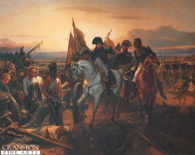 DHM313B.  Battle of Friedland by Horace Vernet. <p>As the evening draws to a close Napoleon is seen riding amongst his men after their victory at the Battle of Friedland.  Due to the French pressure the Russian Commander General Levin Bennigsen moved his army back to his main camp at Konigsberg in June 1807, while his army of 60,000 men crossed the River Alle at Friedland.  It was faced by a French force of 26,000 under the command of Marshal Jean Lannes. The Russian Commander attacked early on the 14th of June. The much smaller force fought of the Russian attacks for nine hours, giving time for the main French force of 80,000 to arrive. Marshall Neys Force came up from the south and attacked the Russian left flank which gave way all the way along the river until just outside Friedland where it was halted. A second corps under the command of General Laude Victor came to the support of Neys left flank. Victor also brought up 30 Artillery pieces which blasted the Russians at very short range. The Russians that were massed in the tiny village and unable to cross the River received huge numbers of casualties due to the artillery fire. General Bennigsens army was decimated with most of his troops killed, wounded or forced to cross the river.  The actual looses were 11,000 dead, 7,000 wounded and many thousands of troops drowned trying to cross the river. This compared to the French losses of 1372 killed 9,108 wounded.   The French army pursued the Russians with Marshal Soult occupying Konigsberg on June 16th.  A few days later Czar Alexander I arranged a truce and on the 25th of June on a barge like raft on the River Niemen along with the Prussian King Frederick Willaim III drew up the Treaty of Tilset. Prussia ceded to France all the territories West of the Elbe, becoming the Kingdom of Westphalia and from the area of Poland both Russia and Prussia recognised the new state, The Duchy of Warsaw.<b><p>Open edition print. <p> Image size 12 inches x 9 inches (31cm x 23cm)