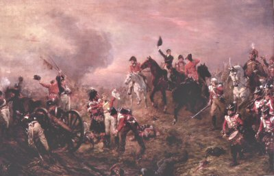 Battle of Waterloo at Close of Day by Robert Hillingford.