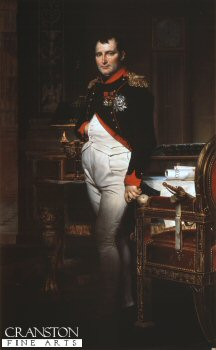 DHM327B.  Portrait of Napoleon by J David. <b><p>Open edition print. <p> Image size 7 inches x 12 inches (18cm x 31cm)