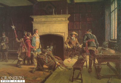 DHM329.  Cromwell at the Sign of the Blue Boar by Ernest Crofts. <p>Cromwell questioned as a prisoner. Painted in 1883, this painting hangs in the Dudley Art Gallery.<b><p>Open edition print. <p> Image size 23 inches x 15 inches (58cm x 38cm)
