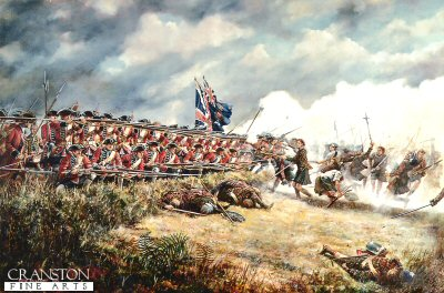 DHM330.  The Battle of Culloden, 16th April 1746 by David Rowlands. <p>The King&#39;s Regiment and the Atholl Brigade at the Battle of Culloden.  16 April 1746: At the Battle of Culloden the King&#39;s Regiment was on the extreme left flank of the Royal army. However, it was positioned en potence, at right angles to the line. The regiment was on rising ground, protected to some degree by the crumbling Leanach dyke, made of turf. The soldiers were in a position to open a deadly fire on the Highland right, should it make an attack. The Highlanders of the Atholl Brigade made a spirited charge, sword in hand, towards their right, and the King&#39;s Regiment opened a deadly flanking fire on the crowded mass of men. Wind and smoke blew towards the Highlanders. With bayonets fixed, and drawn up in three ranks, they were unable to miss at such close quarters. The officers carried spontoons, and sergeants, halberds. 