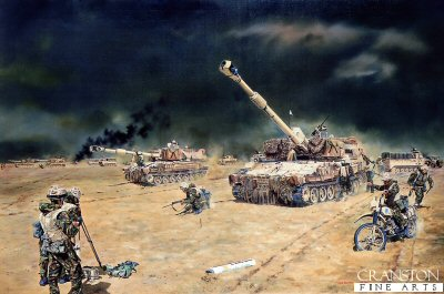 M109 Howitzers of 127 (Dragon) Field Battery Royal Artillery by David Rowlands.
