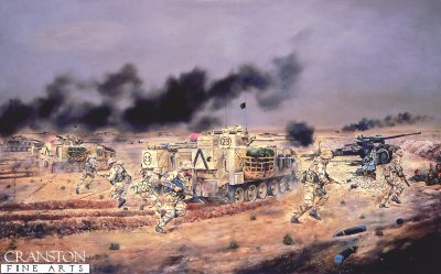 Assault on Iraqi Artillery Positions, 3rd Fusiliers Battle Group by David Rowlands. (GS)