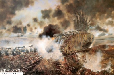 DHM340. The First Tank versus Tank Action by David Rowlands. <p> The Mark IV Tank of Lt. F. MItchell MC, 1st battalion Tank Corps engages A7V tanks at Villers-Bretonneux, 24th April 1918. <b><p> Signed edition. <p> Image size 23 inches x 14 inches (58cm x 36cm)