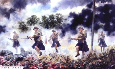 DHM349.  The Queens Own Cameron Highlanders by David Rowlands. <p> 1st Battalion in action at Escaut Canal, Belgium, May 1940. The last Highland Regiment to wear a kilt in battle, attacking the Germans at the River Escaut.  From the Diary of Captain R. Leah, 1st Battalion, Queen&#39;s Own Cameron Highlanders : Tuesday 21st May : Bn left Ere about 2 a.m. to march back. Fortunately Coy Cmdr. were required for some sort of recce and we went in C.O.s car.  Arrived Taintignies 3 a.m. and self went out again with Wilkie in C.O.s car to look for for C Coy which had gone astray, and to see Q.M. about Bn rations in Wez-Velvain.  Could not find either.  Met the Battalion arriving from Ere when I left the village at 3 a.m.  Got back myself at 4 a.m. found empty house which I entered by window and slept well for 5 hours. Officers mess going in house beside M.T. park, and had good breakfast.  Fairly quiet morning and orders to move this afternoon to Bn assembly position S of Wez-Velvain.  Thence we were directed to Merlin and prepared for counter-attack to drive enemy off Western side of Escaut.<b><p> Signed edition print. <p> Image size 24 inches x 15 inches (61cm x 38cm)