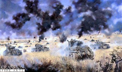 DHM351.  Operation Goodwood, Caen, Normandy, 18th-19th July, 1944 by David Rowlands. <p> The Allied breakthrough into the Normandy plain, against heavy German opposition. Filed marshall Montgomery claimed that Operation Goodwood had two major aims - the first being to break out from the beaches and the other to destroy the German armoured reserves and draw them away from the US forces that were preparing for Operation Cobra in the western sector.  The plan for the breakout began with a massive aerial bombardment, using the strategic air forces large bombers to decimate the German defending forces then Lt-General Richard OConnors VIII Corps comprising three whole armoured divisions - 11th, 7th and Guards - and spearheaded by Major-General Pip Roberts 11th would then rush forward, overwhelm the defending Germans and causing the armoured forces to move forward and break out from the beach areas. To cover the flanks the Canadians would fight their way to Caen, while the British 3rd Infantry and 51st Highland Divisions would cover the left flank,  and move further eastward.<b><p> Signed edition. <p> Image size 23 inches x 17 inches (58cm x 43cm)