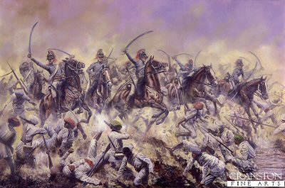 DHM355.  The Charge of the 19th Light Dragoons at Assaye by David Rowlands. <p>During the 2nd Mahratta War, Major General Sir Arthur Wellesley (later, the Duke of Wellington) commanding a small British force was greatly outnumbered by the Mahratta army which faced him in Berar. Seeing two villages on opposite banks of the Kaitna river, he correctly deduced that a ford lay between them. Crossing the ford with his troops, he deployed to face the enemy with his right and left flanks protected by the Juah and Kaitna rivers. The enemy were only able to deploy a small part of their force in the intervening space.  A formation of Mahratta cavalry charged the 74th Highlanders in flank and began capturing some of the British guns. In response, Lt Colonel Maxwell advanced with his cavalry brigade, which consisted of three regiments of Native Cavalry and the 19th Light Dragoons and charged the enemy&#39;s left, driving the Mahrattas into the river Juah. This river had less water in it than the Kaitna, and had very steep banks. The dragoons crossed the river and charged, driving the enemy off the field. However, so large was the enemy&#39;s force that the rear of the British position was still threatened. Maxwell&#39;s cavalry returned to the scene, and ended the day with another charge against the Mahratta infantry, though men and horses were exhausted. Maxwell was killed in the fighting.  Light dragoons in India wore a helmet, typically black, enamelled with a brass comb, a red mane and a black turban. They were armed with the 1796 pattern light cavalry sabre. A carbine hung by a swivel from the shoulder belt. Jackets were &#39;French grey&#39;. In marching order the rolled cloak was carried in front of the saddle, with a leather valise behind. Saddle cloths were little worn. Harness was usually black. Light cavalry horses differed only very slightly from those of the &#39;heavies&#39;.<b><p>Signed open edition print. <p> Image size 23 inches x 15 inches (58cm x 38cm)