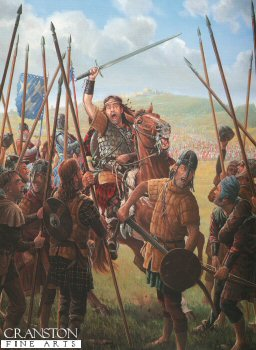 DHM364. William Wallace Before the Battle of Stirling Bridge by Mark Churms. <p>  With Edward I absent from Scotland the land soon slips once more into open insurrection. Though not of noble birth, William Wallace, by brutally slaying the Sheriff of Lanark in vengeance for the murder of Wallaces new bride and her servants, soon comes to embody the Scottish Nationalist cause. Through his popularity and military skill, he is able to rapidly unify the rebellious bands into a single, cohesive fighting force. An English army is sent north to defeat the Scots and capture Wallace and the only noble to come to Wallaces assistance, is his friend Andrew Murray. Other Scottish landowners are too timid and fear the consequences.  The armies meet at Stirling and the English begin to deploy across the narrow wooden bridge which spans the River Forth. Whilst the English commanders bicker about their battle plan, Wallace seizes the moment and blows his horn. Upon this signal, the massed ranks of Scottish spearmen charge forward across the open boggy ground towards the bridge!   <b><p> Signed limited edition of 2500 prints.  <p>Image size 16 inches x 24 inches (41cm x 61cm)