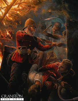 DHM372P. Pinned Like Rats in a Hole by Mark Churms. <p> Depicting Private Hook and Private Williams, B Company, 2nd Battalion, 24th Foot inside the burning hospital at Rorkes Drift, 7pm January 1879. At about 6 pm the Zulus first forced their way into the hospital building where some thirty patients were defended by a handful of able-bodied men. A running fight ensued as the patients were evacuated from room to room, a desperate struggle made all the more terrible when the Zulus set fire to the thatched roof. Here Private Alfred Henry Hook holds Zulus of the uThulwana regiment at bay whilst Private John Williams helps a patient escape, Hook received a head wound when a spear struck off his helmet.<b><p> Original painting by Mark Churms.   <p>Image size 40 inches x 30 inches (102cm x 76cm)