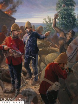 DHM373P. Pot That Fellow by Mark Churms. (P) <p> Acting Assistant Commissary J.L. Dalton commissariat and transport department and colour sergeant F. Bourne, during the battle at the front wall about 6pm at Rorkes Drift. Frank Bourne was born  on the 27th April 1854  in Balcombe Sussex, when Bourne was 18 he joined the 24th Regiment in 1872, being promoted to Corporal in 1875 and Sergeant in 1878.  Sergeant Bourne was promoted to Colour Sergeant soon after the rgeiment arrived in Natal.  Colour Sgt bourne was part of B company whose job was to guard the hospital at Rorkes Drift.  Colour Sgt Bourne played a major role in keeping the defending troops effective.  Colour Sgt Bourne was awarded the Distinguished Conduct Medal for his role in the defence, and it is surprising that he was not awarded a Victoria Cross as 11 were awarded for the defence. Col Sgt Bourne retired form the army in 1907, but  joined again for WW1, serving in Dublin.  He was the last survivor of Rorkes Drift, passing away at the age of 91 on the 8th May 1945 by coincidence being VE day.<b><p> Original painting by Mark Churms.    <p>Image size 40 inches x 30 inches (102cm x 76cm)