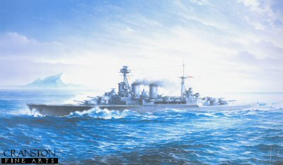 HMS Hood Passing Gibraltar by Brian Wood.