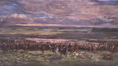 Charge of Donops Cavalry Led by Marshal Ney at Waterloo by Demoulin (P)