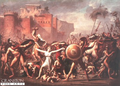 DHM388. The Sabine Women by Jacques Louis David. <p>The Romans have abducted the daughters of their neighbors, the Sabines.  To avenge this abduction, the Sabines attacked Rome, although not immediately, since Hersilia, the daughter of Tatius, the leader of the Sabines, had been married to Romulus, the Roman leader, and then had two children by him in the interim.  Here we see Hersilia between her father and husband as she adjures the warriors on both sides not to take wives away from their husbands or mothers away from their children.  The other Sabine Women join in her exhortations.<b><p>Open edition print. <p> Image size 24 inches x 17 inches (61cm x 43cm)