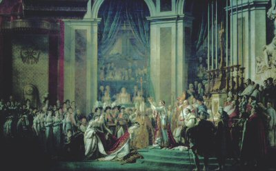 DHM395B.  Coronation of Napoleon by J David. <p>This painting was commissioned by Napoleon in September 1804 and completed in 1807.  The original painting is 10 metres by 6 metres, and the official title is : Consecration of the Emperor Napoleon I and Coronation of the Empress Josephine in the Cathedral of Notre-Dame de Paris on 2nd December 1804.<b><p>Open edition print. <p> Image size 12 inches x 7 inches (31cm x 18cm)