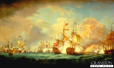 Battle of Trafalgar by Thomas Whitcombe.