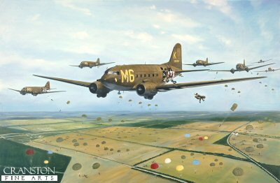 DHM404.  Arnhem by Simon Smith. <p>Douglas C47 Dakotas fly into the landing and drop zone at Renkum Heath, September 17th 1944.<b><p>Open edition print.  <p>Image size 11.5 inches x 7 inches (30cm x 18cm)