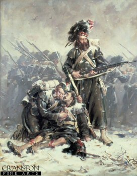 DHM431.  Comrades by Robert Gibb. <p>A dying soldier of the Black Watch is supported by his comrade, while another stands to protect them, as the ranks of the Highlanders march on, after the battles at Sebastopol during the Crimean war. <b><p>Open edition print. <p> Image size 25 inches x 16 inches (64cm x 41cm)