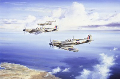 DHM0437C. Maltese Falcons by Anthony Saunders. <p> Depicting Spitfires of No.229 squadron as they pass over Malta in 1942, a tribute to the young pilots, regarded as the saviour of an Island. <b><p>Signed by Group Captain Billy Drake DSO DFC* (deceased). <p>Billy Drake Signature Edition of 150 prints from the signed limited edition of 850 prints. <p> Image size 19 inches x 12.5 inches (48cm x 32cm)