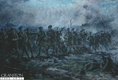 DHM440. Backs to the Wall by Robert Gibb. <p>This painting was inspired by Sir Douglas Haigs order to his troops at the time of the great German offensive. Note the ghostly images of the dead comrades above the soldiers heads. This was Gibbs final battle scene, painted when he was in his eighties.<b><p>Open edition print.  <p>Image size 24 inches x 14 inches (61cm x 36cm)