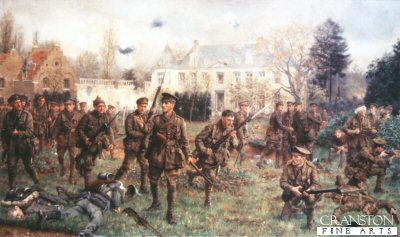 DHM443. Battle of Gheluvelt, 31st October 1914 by J.P. Beadle. <p>The 2nd Battalion Worcester Regiment and South Wales Borderers arriving in the grounds of the Chateau at Gheluvelt after their historic counter attack on 31st October 1914. <b><p> Open edition print. <p> Image size 23 inches x 14 inches (59cm x 36cm)