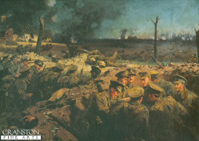 DHM444.  The Suffolks at Neuve Chapel by Dadd. <p>Soldiers of the Suffolk Regiments are seen in their trenches during the attacks at Neuve Chappell during the first world war. <b><p> Open edition print. <p> Image size 24 inches x 14 inches (61cm x 36cm)