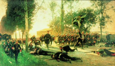 DHM450.  Death of Major Hadelin by Carl Rochling. <b><p>Open edition print. <p> Image size 24 inches x 15 inches (61cm x 38cm)
