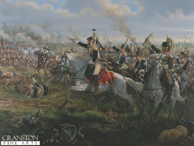 DHM454. La Charge (Donops Cavalry at Waterloo) by Mark Churms. <p>Baron de Donops Brigade at the Battle of Waterloo, 5.30pm, 18th June 1815.  After four hours of fighting, the squadrons of Napoleons 3rd Cavalry Corps finally join the massed assaults on the battered allied infantry squares.  With the 42 year old marechal de camp Frederic-Guillaume de Donop at their head, the 2nd and 3rd Cuirassier Regiments break from a trot into a canter as they clear the ridge.  The heavy cavalry are smashed against the steadfast bayonets of the redcoats and countercharged by light horsemen.  In one of these encounters the general himself is terribly wounded and falls from his horse. His son (aide-de-camp) is also injured.  Both are reported missing and presumed captured.  Although the generals body is not found,it is certain that he met his death in the muddy fields of Waterloo alongside many of his brigade.  In 1895 his name is inscribed on the north face of LArc de Triomphe in Paris in recognition of his service to France. <b><p>  Signed limited edition of 1000 prints.  <p>Image size 24 inches x 15 inches (61cm x 38cm)