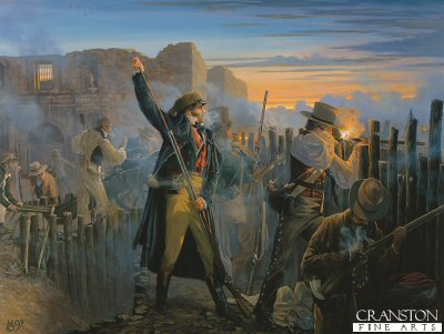 Crocketts Last Sunrise, at the Battle of the Alamo by Mark Churms.