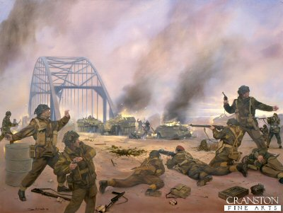 DHM485.  Arnhem Bridge by Simon Smith. <p>Men of Colonel Frosts 2 Para  retake the bridge after a German attempt lead by Captain Viktor Graebner of the 9th SS panzer Division (armoured  reconnaissance Troops) had failed. <b><p> Signed limited edition of 1000 prints. <p> Image size 12 inches x 8 inches (31cm x 20cm)