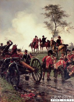 DHM494B.  Wellington At Waterloo by Ernest Crofts. <p>Depicting Wellington directing the deployment of reserves from his famous position under the tree at Waterloo. <b><p> Open edition print. <p> Image size 8 inches x 12 inches (20cm x 31cm)