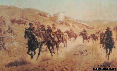 DHM496.  Action of the 6th Mounted Brigade at El Muhgar by J.P. Beadle. <p> Depicting the charge of the Bucks, Berks and Dorset Yeomanry on November 13th 1917 during the Palestine campaign. <b><p> Open edition print. <p> Image size 24 inches x 14 inches (61cm x 36cm)