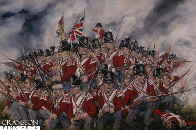 P507. The 27th Foot (Inniskilling) at Waterloo by Brian Palmer. <p> Heroically standing their ground against the French Artillery the 27th were described after the battle as lying dead in a square. <b><p>Postcard<p> Postcard size 6 inches x 4 inches (15cm x 10cm)