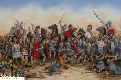 DHM513.  Battle of Zama by Brian Palmer. <p> Hannibal had invaded Italy by taking his army including war elephants across the mountains and into northern Italy. He defeated the Romans in three major battles including Cannae, but he did not take Rome when he had the chance.  Once Rome had strengthened its forces, the Romans invaded Carthage. The second Punic War between Rome and Carthage was brought to a conclusion on the plains of Zama (modern Tunisia) with the Romans inflicting a crushing defeat on the army of Hannibal.<b><p> Signed limited edition of 1150 prints.  <p>Image size 24 inches x 15 inches (61cm x 38cm)