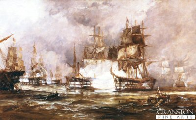DHM521.  Battle of Trafalgar by George Chambers. <b><p>Open edition print. <p> Image size 32 inches x 20 inches (81cm x 51cm)