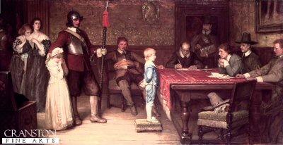 DHM534B.  When Did You See Your Father Last by Yeames. <p>Painted in 1878, this is a fictional event from the English Civil War.  It shows a Royalist house under occupation by Parliamentarians. The young boy is being interrogated as to the whereabouts of his Royalist father. Behind him, a soldier gently holds the boys crying siste. To the left can be seen the childrens mothe, her fear and anxiety at the boys possible answer written in her face.<b><p>Open edition print. <p> Image size 12 inches x 6 inches (31cm x 15cm)