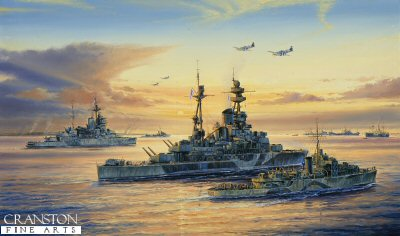 HMS Ramillies and HMS Warspite at Normandy by Anthony Saunders.