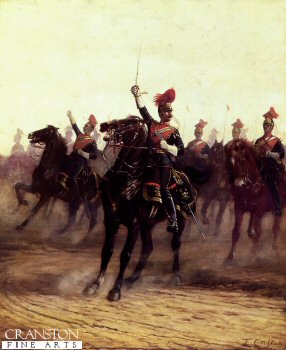 DHM543.  Halt of the 12th Lancers by Ernest Crofts. <b><p>Open edition print. <p> Image size 15 inches x 24 inches (38cm x 61cm)