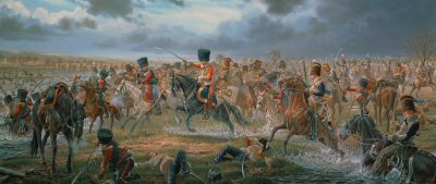 DHM565. Sabres on the Esla Pursuit of the Imperial Guard at the Battle of Benevente by Mark Churms.<p>Sir John Moores epic retreat to Corunna was punctuated by desperate and often heroic rear-guard actions - none more dramatic than the cavalry clash at Benevente on the 29th December 1808. Having crossed the river Esla, cold and swollen by recent rainfall, a British picquet, comprised of elements of the Kings German Legion Hussars and the 7th, 10th and 18th Hussars, covers the river and its tactically demolished Castro Gonzalos bridge from a position near the town of Benevente. Napoleon himself leads the pursuit. The Emperors elite Guard Light Cavalry, commanded by General Lefebvre-Desnouettes, is ordered at daylight to ford the river and launch a surprise attack on what appears to be the numerically inferior British units. As five-hundred and fifty French cavalry emerge in orderly fashion from the river, intent upon quickly dispatching the opposition, they are startled to find the British piquet, reinforced by a host of British cavalry, streaming from within the confines of Benevente, some on their left flank. Under the command of Lord Paget, the British become the pursuers of the surprised French, who turn and retreat with the frigid waters of the Esla blocking their escape. Unlike their crossing in echelon just minutes before, the French now in disorder plunge into the river, where many drown. Others are captured including General Lefebvre-Desnouettes who is made prisoner by Grisdale of the 10th Hussars following a dramatic pursuit. General Lefebvre-Desnouettes will eventually escape from captivity in England, to encounter Lord Paget once again on the field of Waterloo. <b><p> Signed limited edition of 1100 prints.  <p>Image size 34 inches x 15 inches (86cm x 38cm)