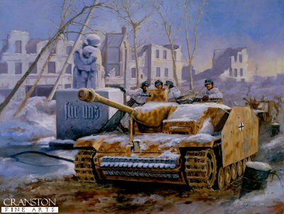 P578. Counter Attack at Konigsberg by David Pentland. <p>German forces encircled in the fortress town of Konigsberg by 3rd Ukranian front prepare to break through the besieging Soviet lines to re-establish a supply line to the Baltic. Here some Stug III assault guns move up to their assembly area next to the towns World War One memorial. From here the attack was launched on February 18th 1945 and successfully opened a supply corridor which remained in place until 8th April.<b><p>Postcard<p> Postcard size 6 inches x 4 inches (15cm x 10cm)