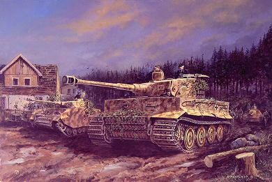 DHM0584F. Kerschers Defence of Neuhauser Forest by David Pentland. <p> Oberfeldwebel Albert Kerscher, commander of 2nd company 511 Heavy Tank Battalion aided by a Panzer IV, two Hetzers, a Kingtiger and a Pak gun, successfully defended against concerted Soviet air and armoured attacks, his action buying valuable time for the evacuation of German wounded from Pilau and scoring his 100th victory in the process.  <b><p>Erwin Kressmann. <p>Erwin Kressmann Knights Cross signature series edition of 27 prints (Nos 820 - 846) from the signed limite dedition of 1150 prints. <p> Image size 25 inches x 16.5 inches (64cm x 42cm)