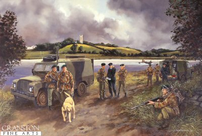 DHM588. Search on the Quoile, 1985 by David Pentland. <p> A joint arms search by members of 3rd Battalion Ulster Defence Regiment and officers of the Royal Ulster Constabulary. <b><p> Signed limited edition of 1000 prints.  <p>Image size 17 inches x 12 inches (43cm x 31cm)