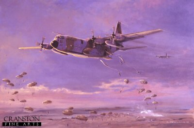 DHM589AP. Dawn Descent by David Pentland. <p> A C130 Hercules MK1 from RAF Lynham Transport Wing, delivers a low level Brigade drop of Airbourne forces over Salisbury Plain.  The C130 Hercules is the workhorse of the Royal Air Force Air Transport (AT) fleet and is based at RAF Lyneham in Wiltshire, where it is operated by Nos 24, 30, 47 and 70 Squadrons.  The fleet totals 50 aircraft and is a mixture of C1/C3 aircraft and the new C-130J aircraft, designated C4/C5. <b><p> Limited edition of 50 artist proofs.  <p>Image size 25 inches x 16.5 inches (64cm x 42cm)